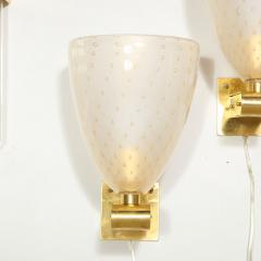 Modernist Brass Sconces with Hand Blown Murano 24 Karat Gold Glass with Murines - 1733403