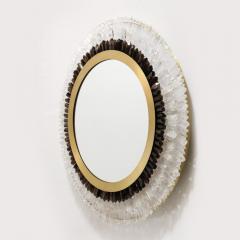 Modernist Brushed Brass White Smoked Rock Crystal Circular Wall Mirror - 2004821