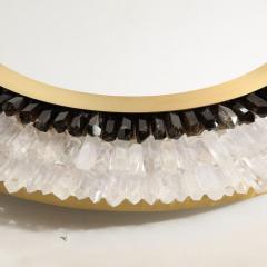 Modernist Brushed Brass White Smoked Rock Crystal Circular Wall Mirror - 2004822