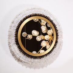 Modernist Brushed Brass White Smoked Rock Crystal Circular Wall Mirror - 2004823