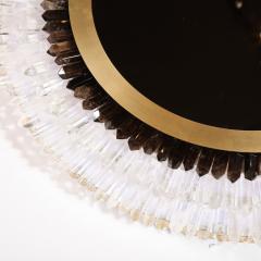 Modernist Brushed Brass White Smoked Rock Crystal Circular Wall Mirror - 2004824