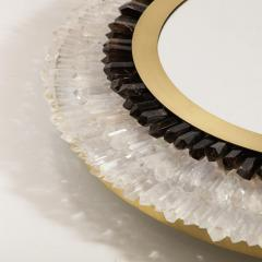 Modernist Brushed Brass White Smoked Rock Crystal Circular Wall Mirror - 2004835
