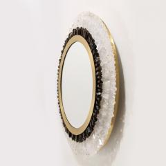 Modernist Brushed Brass White Smoked Rock Crystal Circular Wall Mirror - 2004836