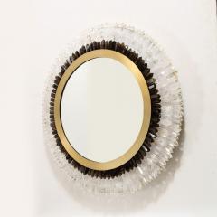 Modernist Brushed Brass White Smoked Rock Crystal Circular Wall Mirror - 2004837