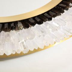 Modernist Brushed Brass White Smoked Rock Crystal Circular Wall Mirror - 2004838