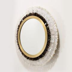 Modernist Brushed Brass White Smoked Rock Crystal Circular Wall Mirror - 2004840