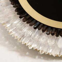 Modernist Brushed Brass White Smoked Rock Crystal Circular Wall Mirror - 2004854