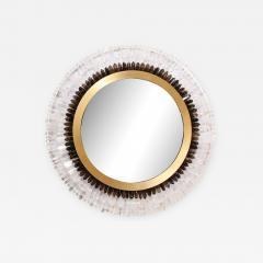 Modernist Brushed Brass White Smoked Rock Crystal Circular Wall Mirror - 2010063