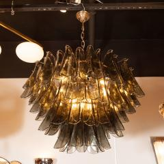 Modernist Feather Chandelier in Murano Smoked Grey Glass and Oil Rubbed Bronze - 1560390