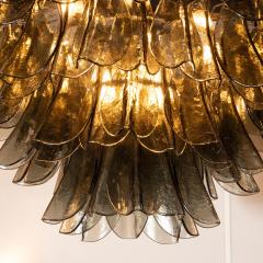 Modernist Feather Chandelier in Murano Smoked Grey Glass and Oil Rubbed Bronze - 1560398