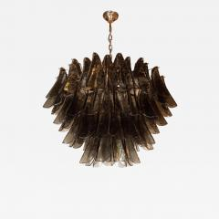 Modernist Feather Chandelier in Murano Smoked Grey Glass and Oil Rubbed Bronze - 1563216