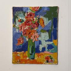 Modernist Floral Still Life Oil Painting - 1629306