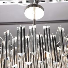 Modernist Handblown Murano Black Translucent Camer Crystal Chandelier - 1949899