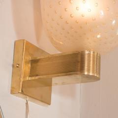 Modernist Handblown Murano Glass 24kt Gold Sconces - 1579028