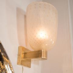 Modernist Handblown Murano Glass 24kt Gold Sconces - 1579029