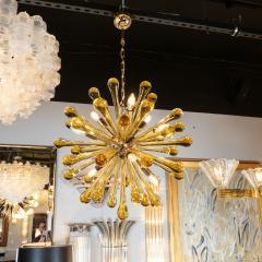 Modernist Handblown Murano Smoked Honey Glass Sputnik with Brass Fittings - 1560006