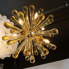 Modernist Handblown Murano Smoked Honey Glass Sputnik with Brass Fittings - 1560014