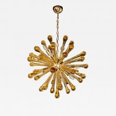 Modernist Handblown Murano Smoked Honey Glass Sputnik with Brass Fittings - 1561400