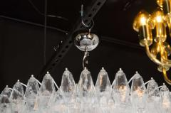 Modernist Handblown Murano Translucent Glass and Chrome Polyhedral Chandelier - 1560031
