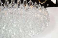 Modernist Handblown Murano Translucent Glass and Chrome Polyhedral Chandelier - 1560033