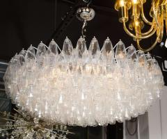 Modernist Handblown Murano Translucent Glass and Chrome Polyhedral Chandelier - 1560034