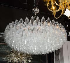 Modernist Handblown Murano Translucent Glass and Chrome Polyhedral Chandelier - 1560035