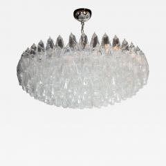 Modernist Handblown Murano Translucent Glass and Chrome Polyhedral Chandelier - 1561403