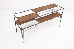 Modernist Magazine Rack or Side Coffee Table in Metal Wood and Glass USA 1950s - 1913428
