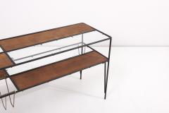 Modernist Magazine Rack or Side Coffee Table in Metal Wood and Glass USA 1950s - 1913431