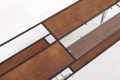 Modernist Magazine Rack or Side Coffee Table in Metal Wood and Glass USA 1950s - 1913432