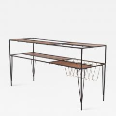 Modernist Magazine Rack or Side Coffee Table in Metal Wood and Glass USA 1950s - 1914083