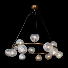 Modernist Oil Rubbed Bronze Chandelier with Organic Hand Blown Murano Shades - 1733275