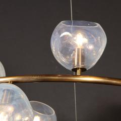 Modernist Oil Rubbed Bronze Chandelier with Organic Hand Blown Murano Shades - 1733276