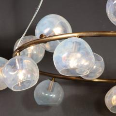 Modernist Oil Rubbed Bronze Chandelier with Organic Hand Blown Murano Shades - 1733277