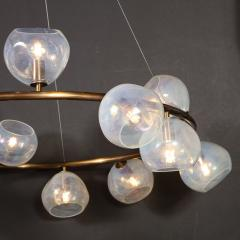 Modernist Oil Rubbed Bronze Chandelier with Organic Hand Blown Murano Shades - 1733286