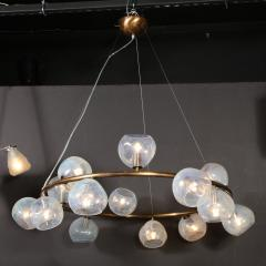 Modernist Oil Rubbed Bronze Chandelier with Organic Hand Blown Murano Shades - 1733287