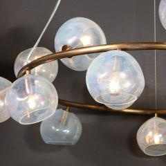 Modernist Oil Rubbed Bronze Chandelier with Organic Hand Blown Murano Shades - 1733288