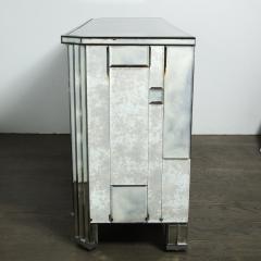 Modernist Pentagonal Form Mosaic Mirrored Cabinet with Ebonized Oak Interior - 1866364