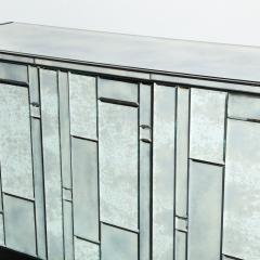 Modernist Pentagonal Form Mosaic Mirrored Cabinet with Ebonized Oak Interior - 1866368