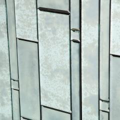 Modernist Pentagonal Form Mosaic Mirrored Cabinet with Ebonized Oak Interior - 1866369
