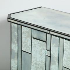 Modernist Pentagonal Form Mosaic Mirrored Cabinet with Ebonized Oak Interior - 1866370