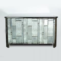 Modernist Pentagonal Form Mosaic Mirrored Cabinet with Ebonized Oak Interior - 1866377