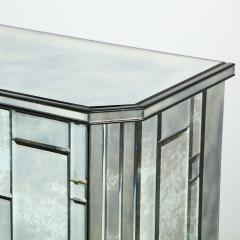 Modernist Pentagonal Form Mosaic Mirrored Cabinet with Ebonized Oak Interior - 1866378