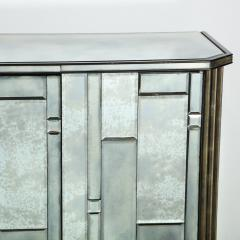Modernist Pentagonal Form Mosaic Mirrored Cabinet with Ebonized Oak Interior - 1866379