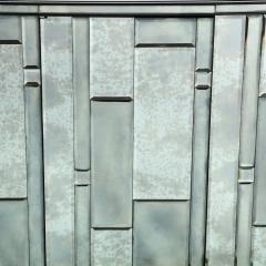 Modernist Pentagonal Form Mosaic Mirrored Cabinet with Ebonized Oak Interior - 1866380