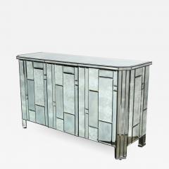Modernist Pentagonal Form Mosaic Mirrored Cabinet with Ebonized Oak Interior - 1873500