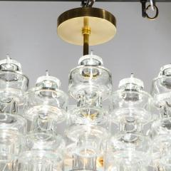 Modernist Polished Brass Translucent Handblown Murano Glass Barbell Chandelier - 1866219