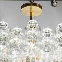 Modernist Polished Brass Translucent Handblown Murano Glass Barbell Chandelier - 1866219