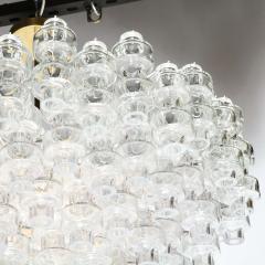 Modernist Polished Brass Translucent Handblown Murano Glass Barbell Chandelier - 1866225