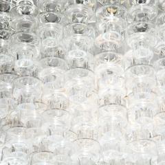 Modernist Polished Brass Translucent Handblown Murano Glass Barbell Chandelier - 1866233